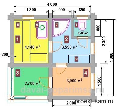 планировка бани 4x4