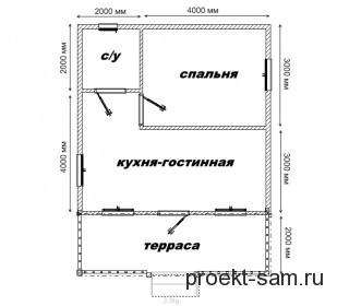 планировка садового летнего домика с террасой