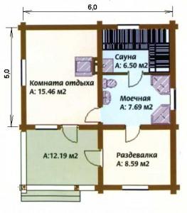 планировка сауны 5х6