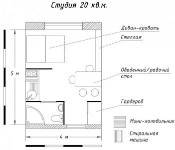 планировка студии 20 кв. м.