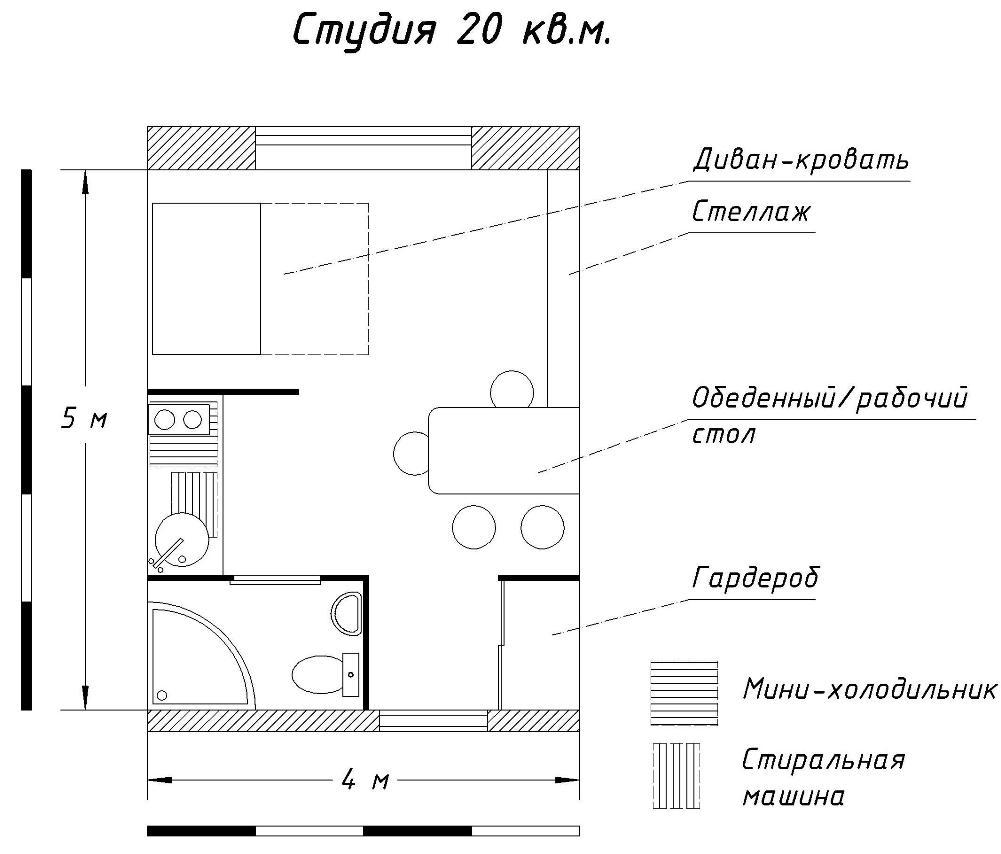 Дизайн маленькой квартиры студии 30 кв м (65 идей современного интерьера)
