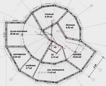 планировка дома-сферы