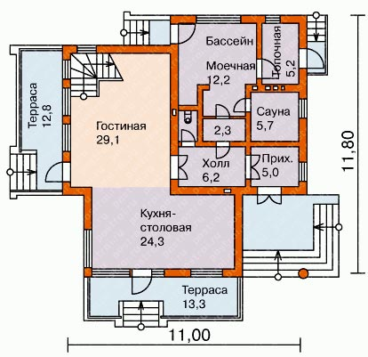 план дома 11х11