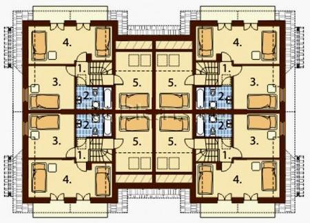 планировка таунхауса на 4 семьи