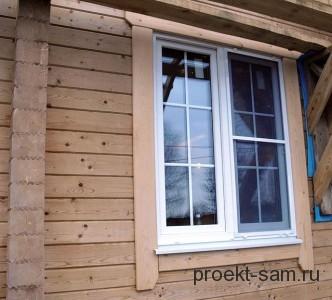 пластиковые окна в доме из клееного бруса