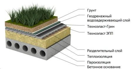плоская крыша с травяным газоном
