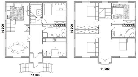 поэтажный план частного дома 10х11