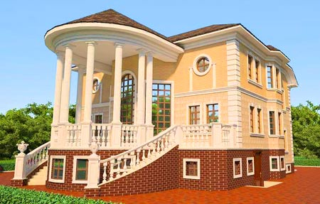 конструкция дома с колоннами