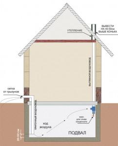 принудительная система вентиляции подвала в частном доме