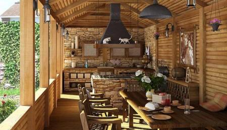 пристройка летней кухни к деревянному дому