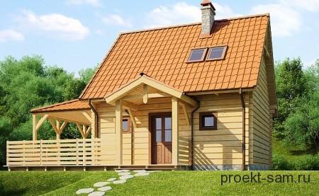 проект деревянного дома из бруса с мансардой 6x6