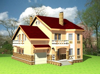 проект двухэтажного загородного дома с гаражом