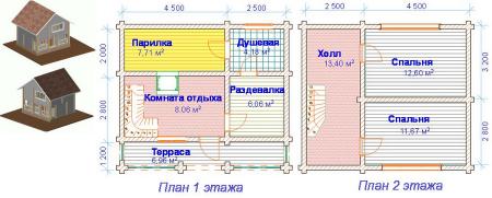 проект 2 этажной бани с мини-бассейном