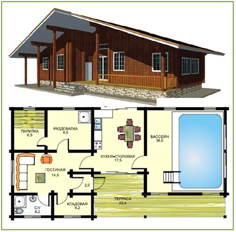Проекты и строительство деревянных и кирпичных бань с бассейном