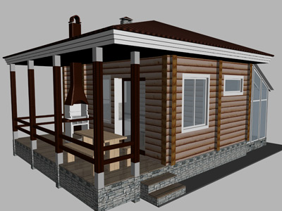 проект бани, совмещенной с летней кухней