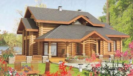 проект бревенчатого дома с большой верандой