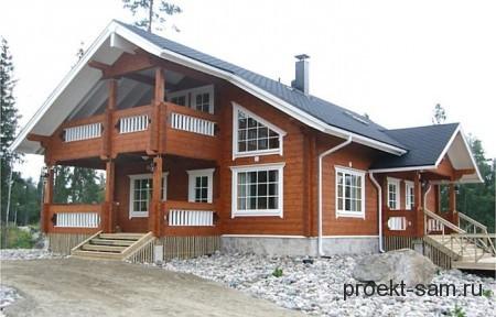 проект деревянного дома с балконом