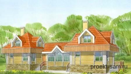 проект деревянного дома на 2 семьи