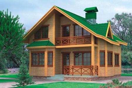 проект деревянного дома с мансардой 10x10