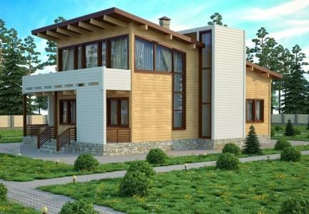 проект деревянного дома в стиле хай тек