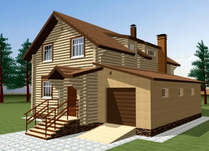 проект деревянного двухэтажного дома с гаражом