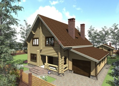 проект двухэтажного деревянного дома с гаражом