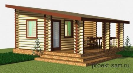 проект деревянного дома с односкатной крышей