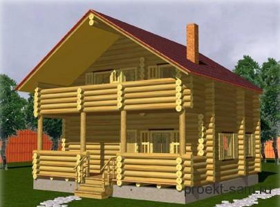проект двухэтажного деревянного дома с террасой
