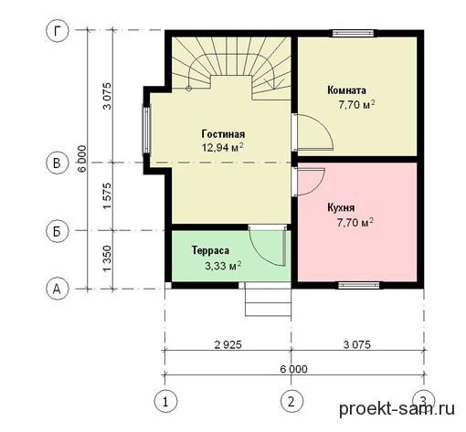 проект дома 6x6 1-й этаж