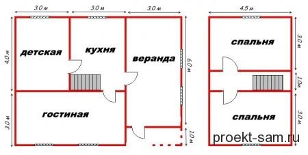 проект дома из бруса 7x9
