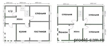 проект дома из бруса 8x10