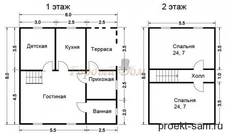 проект дома из бруса 8x8