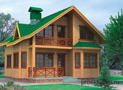 проект небольшого дома из бруса 8x11