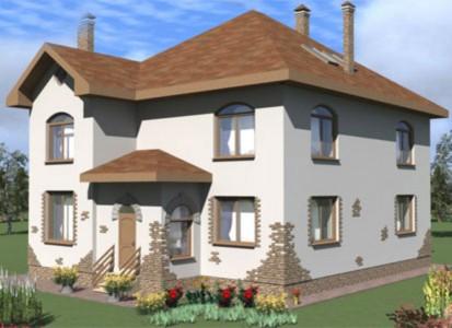 проект двухэтажного дома из пеноблоков