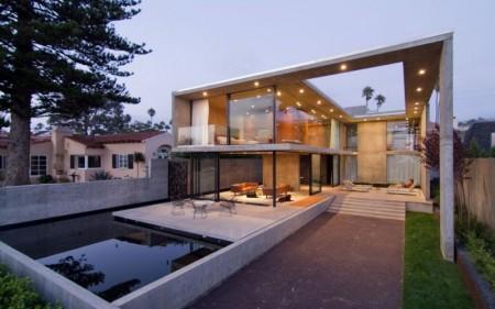 проект дома из стекла и бетона