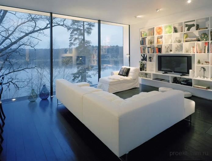 внутренний дизайн дома с большими окнами