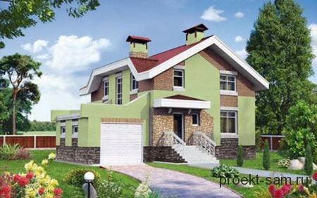 проект дома с цокольным этажом и гаражом