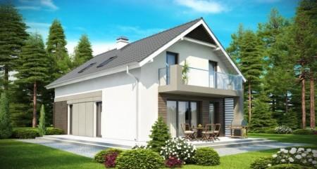 проект дома с двускатной крышей и балконом