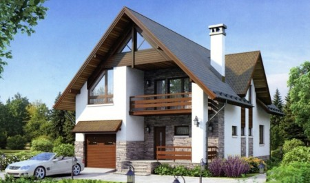 проект дома с гаражом из пеноблоков
