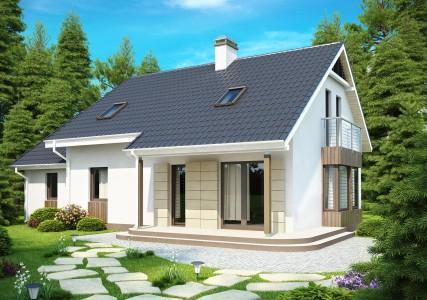 проект дома с мансардой и двускатной крышей из сэндвич-панелей