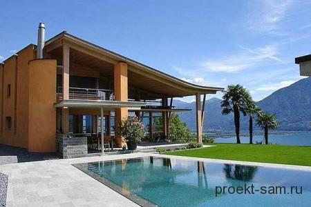 проект дома с односкатной крышей и бассейном