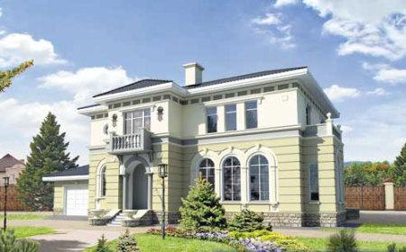 проект двухэтажного дома с прямоугольным эркером