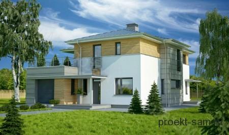проект дома с террасой и гаражом