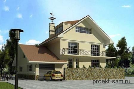 проект дома с верандой мансардой и гаражом