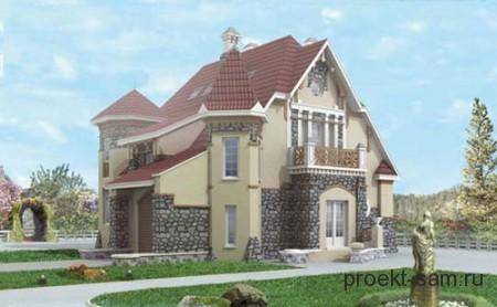 проект трехэтажного дома в стиле замка