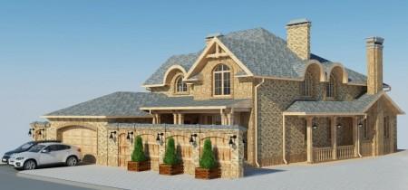 проект двухэтажного американского дома с гаражом