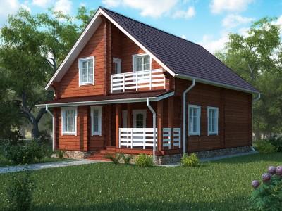 проект двухэтажного загородного дома из бруса
