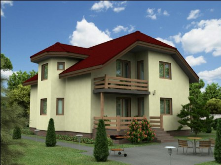 проект двухэтажного дома из пеноблоков с балконом