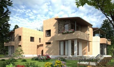 проект двухэтажного дома на 2 хозяина
