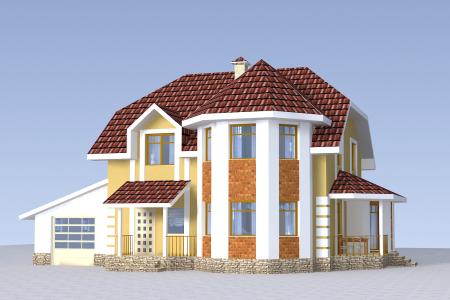проект двухэтажного дома с двумя эркерами
